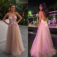 Beaded 3D Floral Appliques Prom Kleid Backless Prom Kleider Spaghetti Neck Plus Size A Line Abendkleider