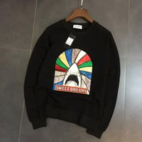Wholesale Casual Sweeter - 2017 New Arrival Autumn High Quality men sweatshirt shark SWEET DREAMS print Sequins Casual Lovers Hoodies Long Sleeve Size M-XXL
