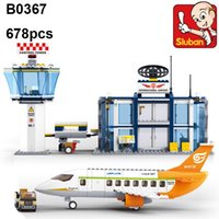 Wholesale Building Blocks Airport - Sluban Building Blocks International Airport model B0367 678pcs Educational DIY Jigsaw Construction Bricks toys for children lepin