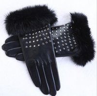 Wholesale 17 Screen - Wholesale- Women imported sheepskin gloves real mink fur gloves fashion rivets winter touch screen gloves AG-17