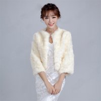Wholesale Winter Bridesmaids Long Coats - :The New Winter Wool Shawls Bride And Bridesmaid Dress Champagne Fur Thermal Long Sleeve With Thick Coat