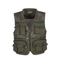 Wholesale Mens Multi Pocket Vest - Wholesale- High Quality Mens Mesh Outdoors Vest With Multi Pockets Waistcoat Sleeveless Jacket For Men