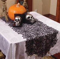 Wholesale Sheer Table Runners - Halloween Fancy Elegant Gothic Decor Sheer BLACK LACE SPIDER WEB TABLE RUNNER Door Topper Window Swag Mantel Scarf Halloween Decoration
