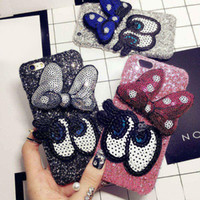 Wholesale Handmade Bling Phone Covers - For iPhone 6 6S 7 Plus Luxury Glitter Girl's Fashion Bling Cute cartoon bowknot Big eye hard phone case Back Cover handmade DIY