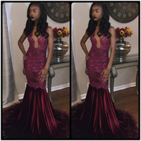Wholesale Turquoise Feather Dress - Elegant Burgundy Prom Dresses V Neck Lace Appliques Mermaid Party Gown With Feather robe bleu turquoise vestido longo de
