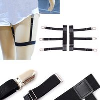 black garter straps - New Mens Shirt Stays Holder Gentleman Leg Suspenders fashion Shirt Braces Elastic Uniform Business strap Shirt Garters pair