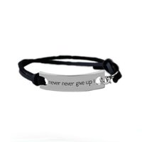 Wholesale Engraved Leather Bracelet - Inspirational bracelet Vintage Leather Bracelet bangles with engraving letters never never give up for man & woman as festival gifts