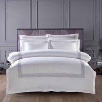 Wholesale Hotel Bedsheet - Wholesale- 60S Egypt Cotton Embroidery White Color King Queen size Bedding sets Hotel Luxury Bed set Duvet cover set Bedsheet Linen