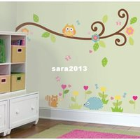 Wholesale Owl Scroll Wall Decal - Free Shipping:Cute Owl Scroll Tree Branch 3D Wall Decals Removable PVC Wall stickers Mural For Kids Nursery Room Decor 120*130c