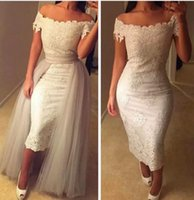 Wholesale Short Overlay Dress Prom - Ivory Scoop Sheath Lace Appliques Evening Dresses Two Pieces Tulle Overlay Custom Online 2016 prom Tea Length Formal Women