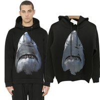 Wholesale Black Winter Cardigans - Winter Europe Paris American Fashion Men Black Shark Sweatshirt Casual Women space cotton Hooded Hoodies