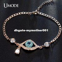 Wholesale Evil Eye Gold Bracelet Plated - UMODE New Arrival Evil Eye Three Colors Austrian Rhinestnes Bracelets For Women Rose Gold Plated Pulseira Jewelry Bijoux UB0060A