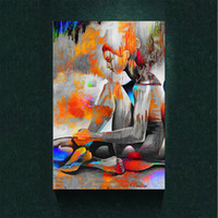 Wholesale Beautiful Girls Picture - Modern Abstract Canvas Art Beautiful Rainbow Color Of Nude Girl Back Oil Painting Print on Canvas Wall Decor Canvas Poster Pictures Painting