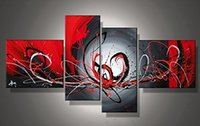 Wholesale Wall Hanging Decoration Piece - 100% Hand Painted Red Blood River 4 Pieces Wall Art Contemporary Art Abstract Framed Oil Painting Bedroom Decorations Ready to Hang