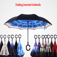 Wholesale Umbrella Anti - C-Handle Umbrella Double Layer Windproof Folding Inverted Umbrella Anti-UV Double Layer Upside Down Reverse Umbrella Self Stand