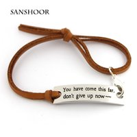 Wholesale Engraved Leather Bracelet - Wholesale Encouraging Letter Engraved Adjustable leather Strap Women Inspirational Jewelry Bracelet for Friends with Free Shipping 30pcs lot