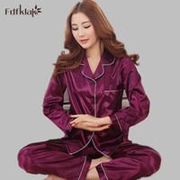 Wholesale suit pijamas for sale - Group buy Fashion Spring Summer Women Pajamas Long Sleeve Silk Pyjamas Pijamas Women s Home Clothes Suits Ladies Sleepwear M XX E0775