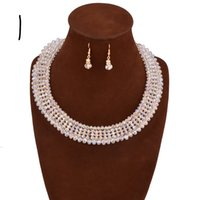 Wholesale Crystal Chokers For Brides - crystal African beads Jewelry Set 2017 Summer fashion Nigerian bride Wedding statement choker Necklace   earrings for women