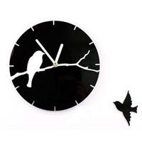 Wholesale Tree Wall Clock - Wholesale- 12'' Quartz Silent Tree Branch Birds 3D Acrylic Wall Clock for Living Room Decoration