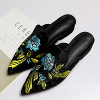 Wholesale Front Green Rear - New 2017 Spring Summer Flower Embroider Velvet Mules Pointed Toe Women Slippers Fashion Flats Shoes Woman B7070701