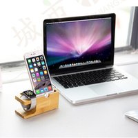 Wholesale Watch Holder Stand Sell - Hot selling 100% Natural Bamboo Charging Dock Station Bracket Cradle Stand Phone Holder For Apple iPhone 6S Plus 7 Plus For i watch