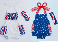 Wholesale Lace Wholesale Usa - 2017 summer 4th of july independence day toddler girls rompers lace baby fourth of july american flag usa jumpsuit infant boutique clothing