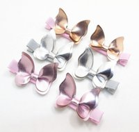 Wholesale Lace Butterfly Hair Accessories - Baby Hair clips Butterfly PU Leather Barrettes girl Bow Hair accessories baby gifts Fashion Hotsale Boutique 2017 wholesale Pink