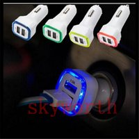 Wholesale Led Light Usb Car Charger - Rocket Design LED light 5v 2a Dual USB Car Charger adapter For iPhone 6 6S 7 Plus Samsung Galaxy S7 Universal