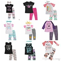 Wholesale European Dot - Ins Baby Clothing Sets Girls Letter Outfits Stripe Dot Top Pants Baby Ins Tops Trousers Summer Ins Shirts Harem Pants Geometric Suits J76