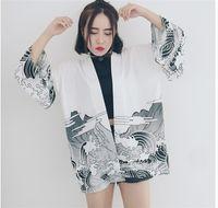 Wholesale Printed Chiffon Button Blouse - S13-Harajuku Japanese style wind dragon waves kimono wide printed sunscreen shirt long sleeve chiffon blouses sun clothing