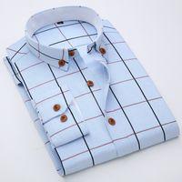 Wholesale Basic Cotton Long Dress - Wholesale- Autumn 2016 Men's Basic Long Sleeve Plaid Oxford Dress Shirts Classic-fit Comfort Soft Cotton Blend Button-down Collar Shirt