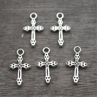 Wholesale Side Cross Charms - 50pcs Cross charm,Silver Vintage Small Cross Double Sided Charms Pendants 21x11mm