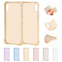 Wholesale Transparent Mobile Phones For Sale - 2018 Hot Sale Mobile Phone Case For iphone X Shockproof TPU Soft Protective Case Shell Cover DHL Free Ship 6 Colors