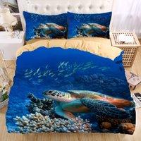 Wholesale Beautiful Duvet Covers - Wholesale- Sea turtle 3D Bedding Set Print Duvet cover set Twin queen king Beautiful pattern Real effect lifelike bedclothes