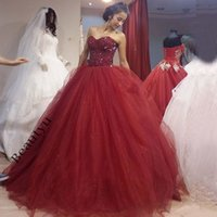 Wholesale Long Sparkly Corset Dress - Burgundy Sparkly Sweet 16 Ball Gown Quinceanera Dresses Sweetheart Corset Sleeveless Beads Tulle Long Custom Puffy Prom Evening Dress 2017