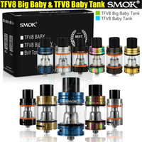 Wholesale 3ml Atomizers - SMOK TFV8 Big Baby & Baby Tank Single Pack 5ml 3ml Top Filling Airflow Control V8 Beast Coils Atomizers Stick Vape mods e cigs Vaporizer DHL