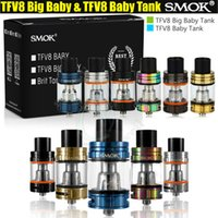 Wholesale SMOK TFV8 Big Baby Baby Tank Single Pack ml ml Top Filling Airflow Control V8 Beast Coils Atomizers Stick Vape mods e cigs Vaporizer DHL