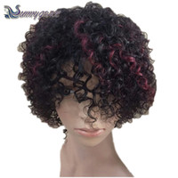 Wholesale Highlights For Curly Brown Hair - kinky curly human hair wigs for black women 99j highlight short bebe baby curly bob wig african American wigs 6 - 8 inch