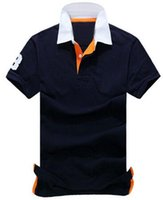 polo blau navy großhandel-Discount Fashion American Style Herren Casual Solid Polo Shirts Klassisch Kurzarm Big Horse Poloshirts Business Weiß Navy Blue