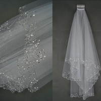 Wholesale cheap bridal veils ivory beaded - Hot Sale 1.5 Metres Two-Layers Sequins Beaded Edge Cheap Bridal Veils With Comb White Ivory Soft Tulle Veil For Wedding Party