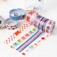 Wholesale Japanese Sticky Tape - Wholesale- 2016 10pcs Cartoon Patterns Washi Tapes Scrapebooking DIY Sticky Decorative Adhesive Masking Japanese Paper Tapes
