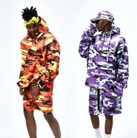 Wholesale Half Camo Long Sleeve - 2017 NEW fashion spring summer Half zipper men's camouflage jacket HIP HOP usa anorak camo windbreaker pink purple and orange