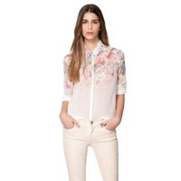 Wholesale plus size work apparel - 2017 Apparel for Women Casual Chiffon Shirts Spring Long Sleeve Print Fashion Party Club Work Business Plus Size Shirts