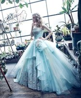Wholesale Strapless Pleated Lace Top - Romantic Ice Blue Wedding Dresses 2017 Strapless Vintage Lace Top with Tulle Princess Skirt Floor Length Bridal Gowns Robe De Mariage BA6339