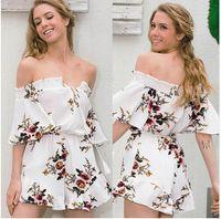 Wholesale Casual Elegant Jumpsuit - Sexy off shoulder jumpsuits floral print Playsuits elegant jumpsuits rompers 2017 Summer Style beach short playsuit Women overalls wholesale