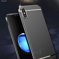 Wholesale Iphone Bumper Frosted Back - for Apple iPhone x Case Luxury Thin Shockproof 3-piece Armor Anti Fingerprint Frosted Protective Shiny Plating bumper Back Case Cover stylis