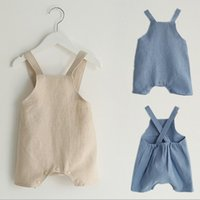 Wholesale Baby Boy Linen - Everweekend Baby Boys Girls Cotton Linen Halter Rompers Beige Blue Color Sweet Children Fashion Summer Clothing Cute Fashion Clothes