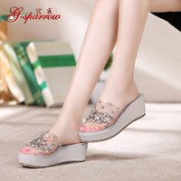 Wholesale Transparent Sandals For Women - 2017 Summer New Diamond Slope With Sandals Transparent Small Size 31 Open Toe Platform Shoes Online Shopping For Womens EBA