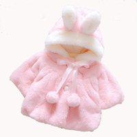 lana de piel de conejo al por mayor-Conejo bebés chaquetas de invierno de piel falsa Abrigo para la lana niñas Orejas Capa dulce cabritos de la capa con capucha abrigo de dibujos animados de los niños