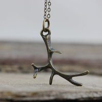 Wholesale Antler Charms - Antlers Necklace Deer antler jewelry Hunting Gift - Woodland charm nature necklace, gift under 50, woman charm C493N